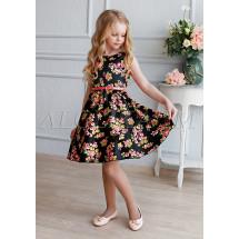 Платье нарядное черное с цветочным принтом Либерти